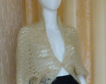 Bolero from long-haired mohair LUNGO in ivory colour, size: M/L