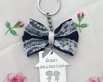 Bow House Love keychain
