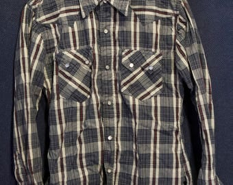 The Flat Head Japan Authentic Western Wear Sawtooth Flannel with Pearl Snaps Size 38 M