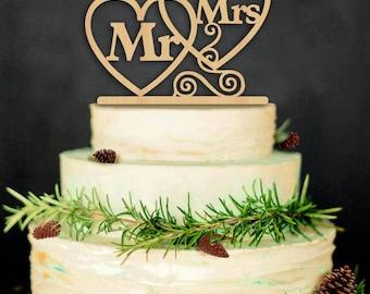 Mr. & Mrs. cake wooden rustic cake topper or flower center piece
