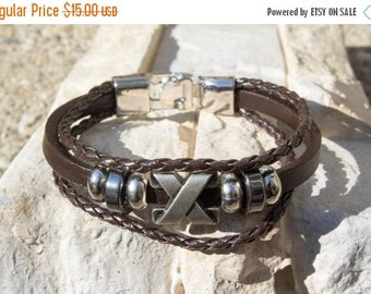ON SALE X Marks The Spot, Braided Leather Stack Bracelet