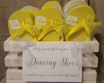 Flip Flops - 24 Shoe Tags and hand made Crate or Basket for wedding dancing shoes