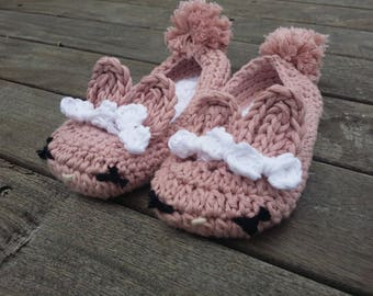 Crochet Bunny Slippers | Toddler, Girl, and Women Sizes | 100% ethically-sourced Pima cotton