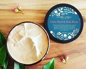 Organic Handwhipped Cacao Body Butter. Natural Luxe skincare. Hand and Body Moisturiser. Organic Body whip.