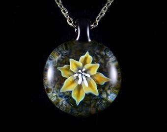 Hand Blown Glass Flower Compression Pendant Necklace in Autumn's Beauty Flora