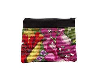 Mayan Huipil Floral Hibiscus Make Up Coin Bag Zipper Purse Pouch