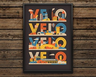 Cycling Art Print A3 / Velo Velo Velo