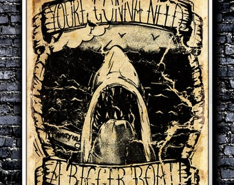 Vintage You're Gonna Need A Bigger Boat - A4 Signed Art Print (Inspired by Jaws)