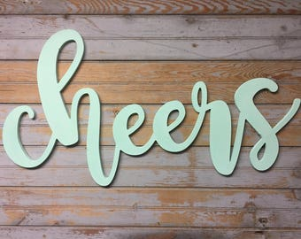 cheers - cheers sign - cutout word sign - cutout wood sign - wedding sign - bar sign