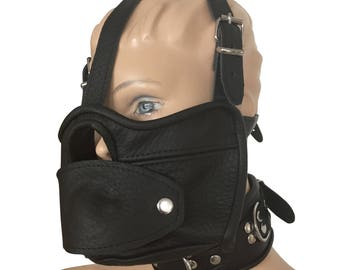 Mask with opening, mouth gag and neckband