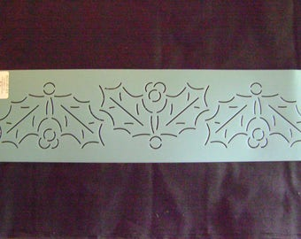 Quilting Stencil 3.5 in. by 18 in. Holly Border/Embroidery/Holiday Crafting/Christmas Stencil