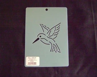 Sashiko Japanese Embroidery Stencil 4 in. Hummingbird Motif Block/Quilting