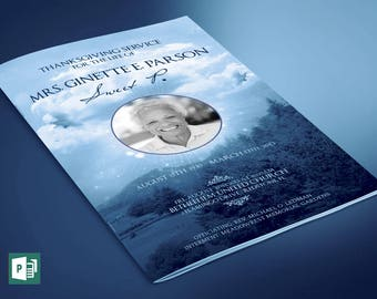 Blue Sky Funeral Program Large Publisher Template