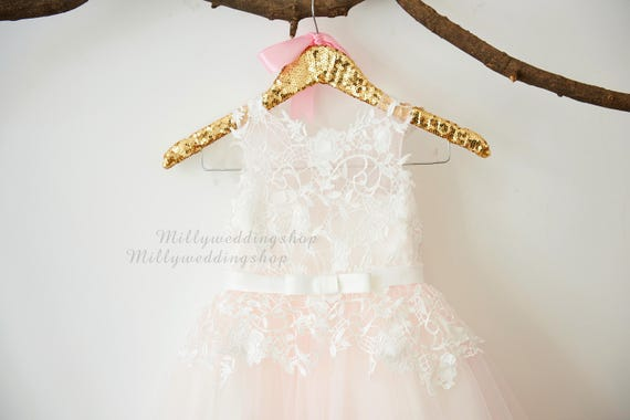 Ivory lace light pink tulle flower girl dress wedding bridesmaid dress with bow belt m0067 like this item mightylinksfo