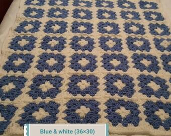 Blue and white crochet baby blanket set 36×30