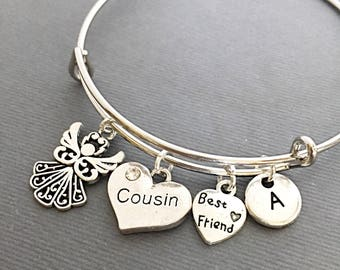 Cousin Gift, Custom Bangle, Charm Bangle, Cousin Bracelet, personalized, customized, initial, monogram, Gift for Cousin, best friends cousin