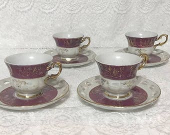 Antique Tea Cup with Saucer Set of 4
