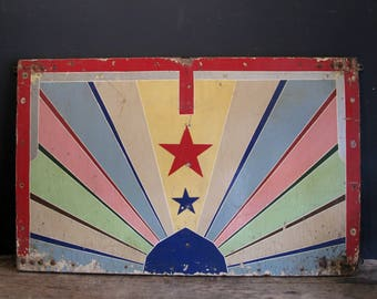 Vintage Hand Painted Fairground Panels - Mid Century Circus Board Painting