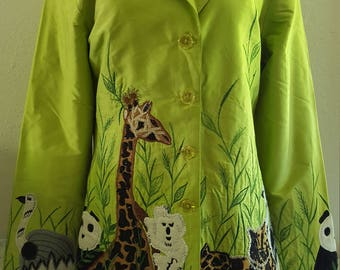 Anage Green Silk Jacket with animals