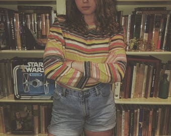 Vintage 1970's Terry Cloth Ladies striped top Small