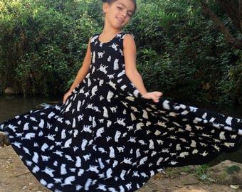 Girls Black Dress, Girls Dress, Girls Cat  Dress, Twirling Black Dress ,  Girls Maxi Dress, Toddler Dress, Long Sleeve Dress For Girls