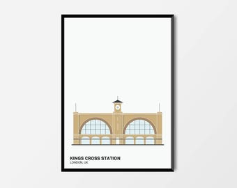 Kings Cross Station, Colour, London Print | London Artwork | London Illustration | Architecture Print | City Print