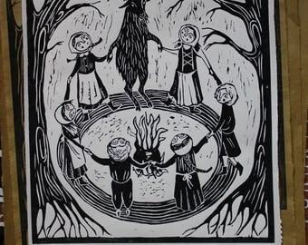 Children of The Goat - Original Lino print, limited edition