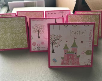 Mini Note Cards Set: 3x3 Cards; Princess; All Occasion; Gift Enclosure; Tag