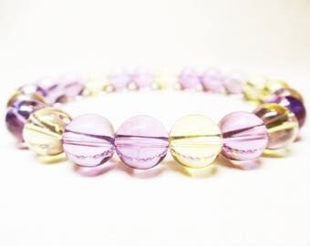 Ametrine Bracelet Healing Bracelet Calming Bracelet Spiritual Bracelet Balance Bracelet Wrist Mala Bracelet 8mm Ametrine Beads Crown Chakra