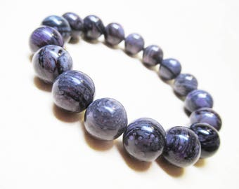 Natural African Sugilite Bracelet Purple Gray Sugilite Gemstone Bracelet Spiritual Bracelet Angel Bracelet 11mm Sugilite Bead Bracelet