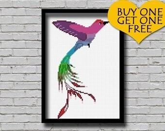 Cross Stitch Pattern Hummingbird Watercolor Effect Bird Nature Inspired Animal Embroidery Modern Decor Long Tailed Hummingbird