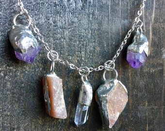 Four Charm Crystal Necklace