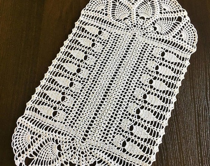 Doily crochet Rustic decor Centerpiece Doily Central & Desktop Decor Crochet Kitchen coasters Napkins Width 9.84 inch Length 19.29 inches.