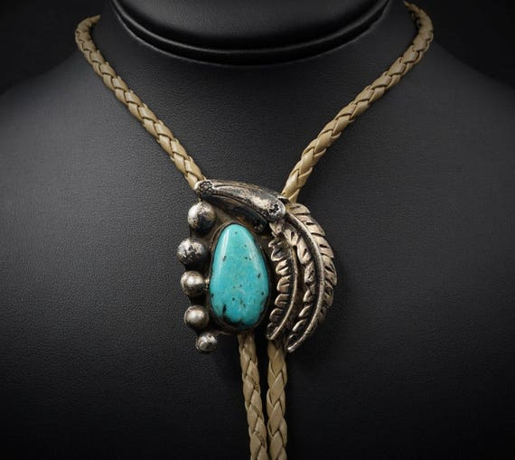 Vintage Navajo Hand Signed Sterling Silver Natural Turquoise Bolo Tie M364