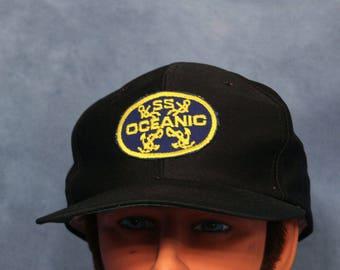 Vintage SS Oceanic Baseball Cap // Black Trucker Hat // Snapback // Cruise Ship