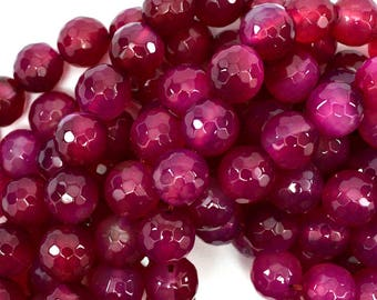 """12mm faceted agate round beads 14"""" strand magenta S1 38877"""