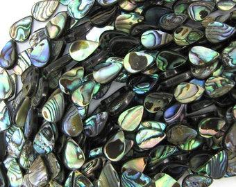 "12mm abalone shell flat teardrop beads 16"" strand 32103"