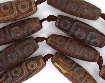 "39-40mm matte brown Tibetan DZI agate barrel beads 13"" strand 35780"