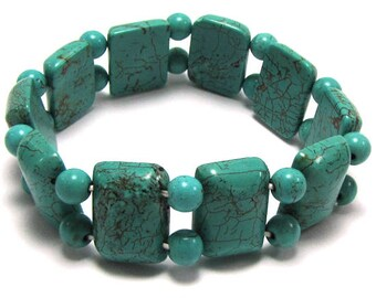 "20mm blue turquoise stretch bracelet 8"" 16438"