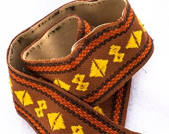 """Shabby Chic Brown, Gold, and Red Geometric Camera Strap, 36"""" long, 2"""" Wide for Canon, Nikon, Pentax, Sony, or Others"""