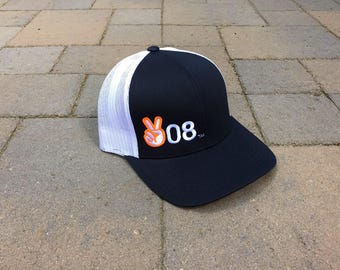 Area Code Art - Idaho trucker hat,  208 Area Code, Peace sign, 208 Peace symbol, Adjustable, Idaho Gift