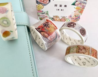 4 washi tape masking tape, japanese food, coffee, bread, fruit