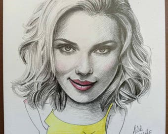 Scarlett Johansson. Mini portrait 14x14 centimeters Original drawing made in pencil.