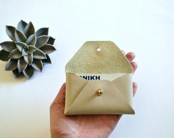 Beige leather card holder / Beige envelope card holder / Beige leather business card case / Genuine leather