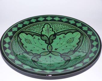 Moroccan ceramic plate Metal deco Orient handicraft Morocco, Ø 35 cm