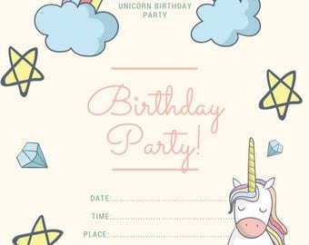 Unicorn Birthday Invite , birthday party invite