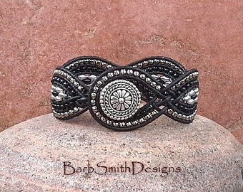 Black and Silver Leather Cuff Bracelet, Woven Beaded Wrap Bracelet, Unique Weave Bracelet, Wide Beaded Bracelet, Twisted Sister in Jet Black