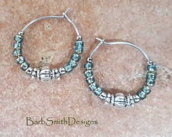 """Beaded Turquoise Celsian Blue and Silver Stainless Steel Hoop Earrings, Small 3/4"""" Diameter"""
