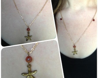 """Necklace """"flower with petals of gold"""""""