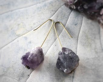 Minimalist Crystal Earrings – Handmade Crystal Jewellery. Amethyst crystal earrings, contemporary design, mbpblue designs, Australia